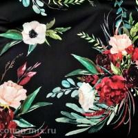 Плательная ткань Дерика на черном фоне