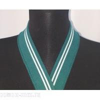 Воротник зелёный с белыми полосами узкий